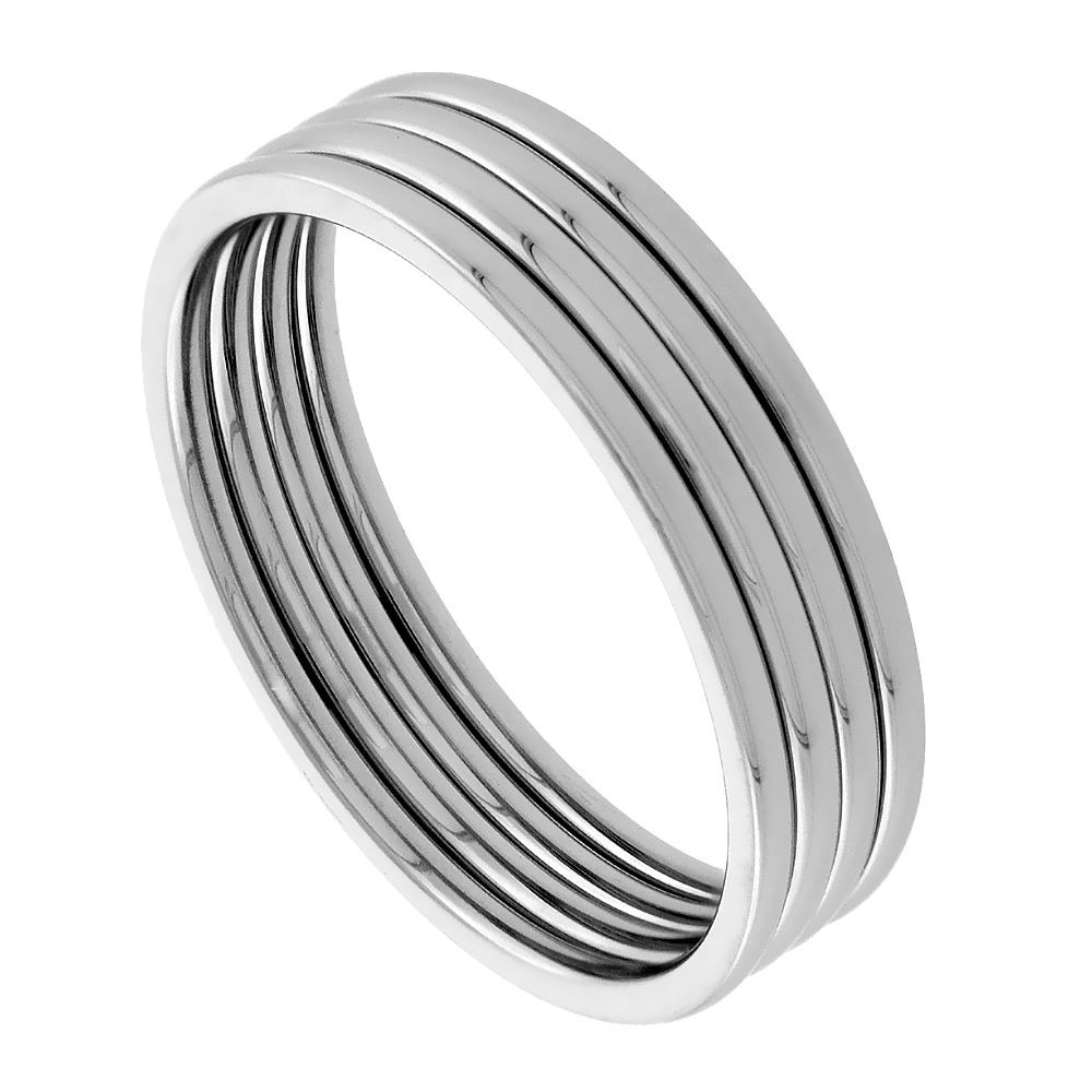 Surgical Stainless Steel Knuckle Ring Set of 4 Midi Stacking Rings 1mm Polished Comfort Fit, sizes 1 - 6