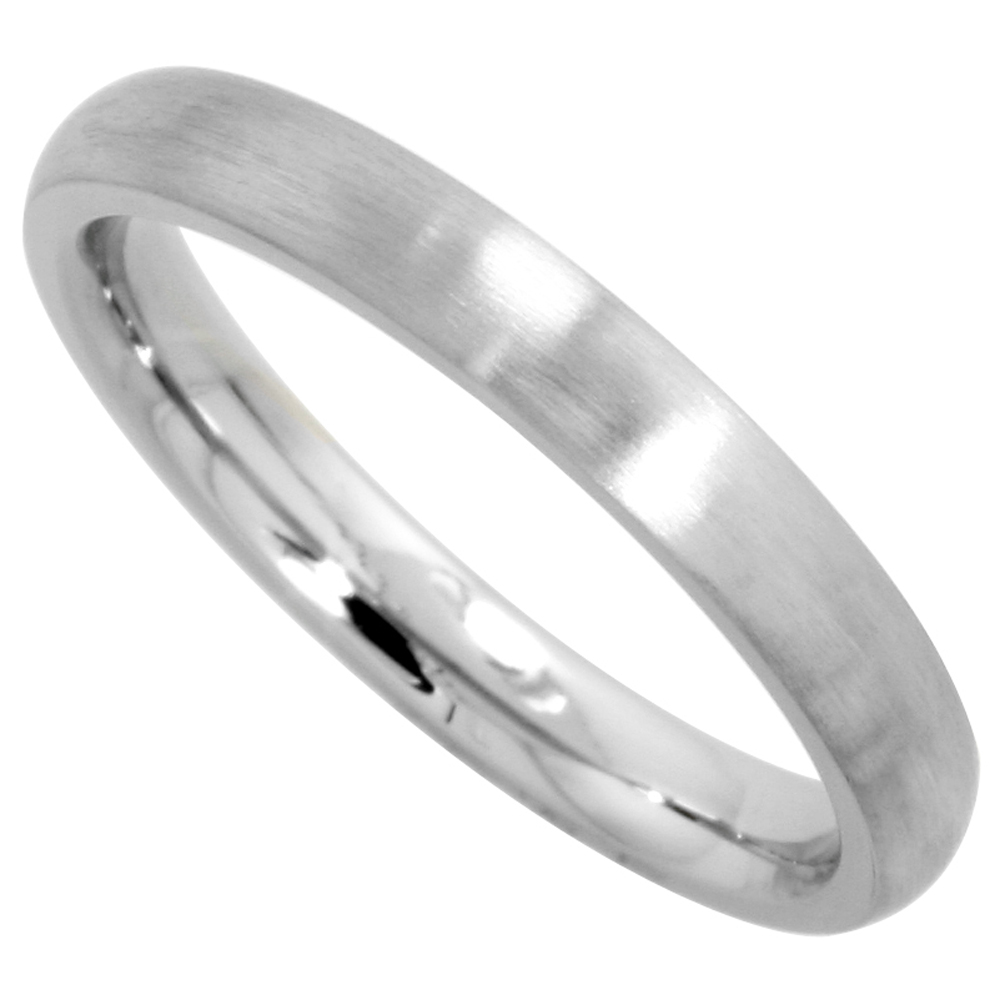 Surgical Stainless Steel 3mm Domed Wedding Band Thumb / Toe Ring Comfort-Fit Matte Finish, sizes 5 - 12