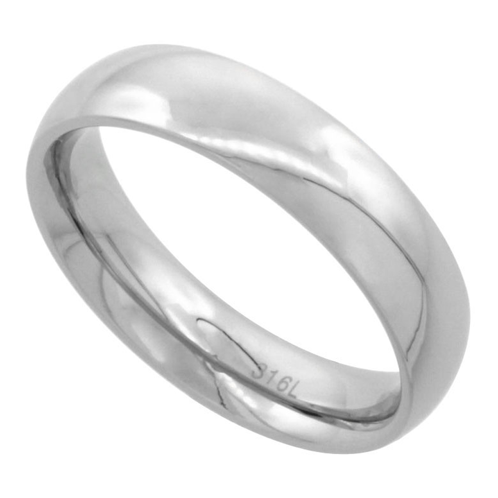 Surgical Stainless Steel 5mm Domed Wedding Band Thumb Ring Comfort-Fit High Polish, sizes 5 - 12