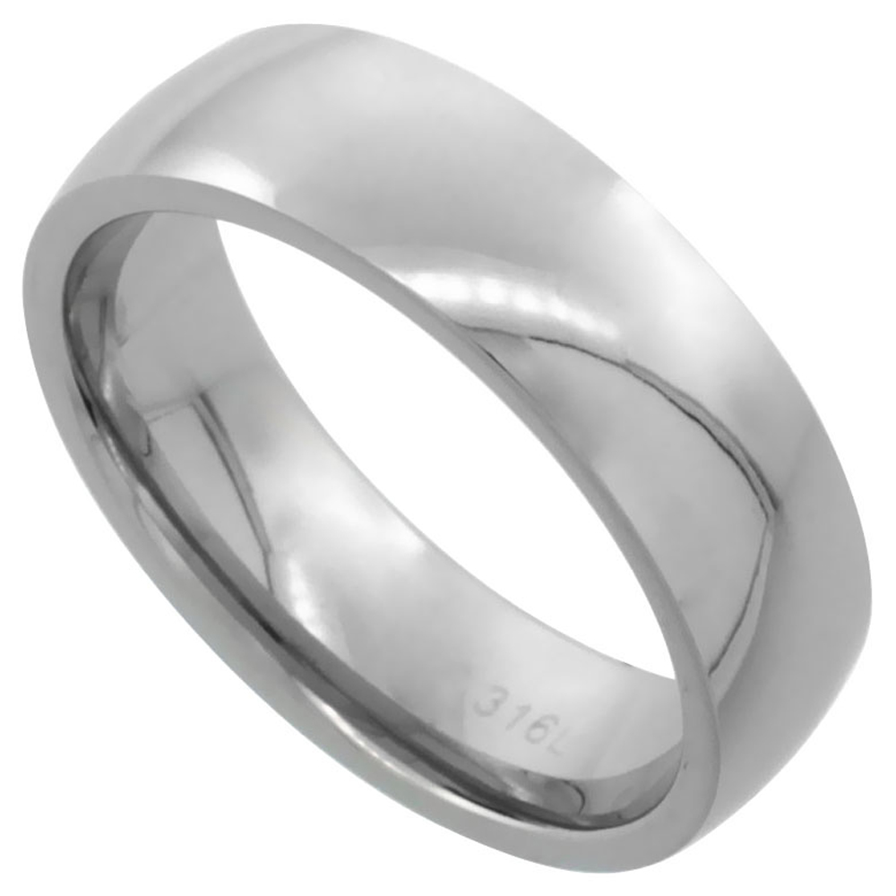 Surgical Stainless Steel 6mm Domed Wedding Band Thumb Ring Comfort-Fit High Polish, sizes 5 - 12