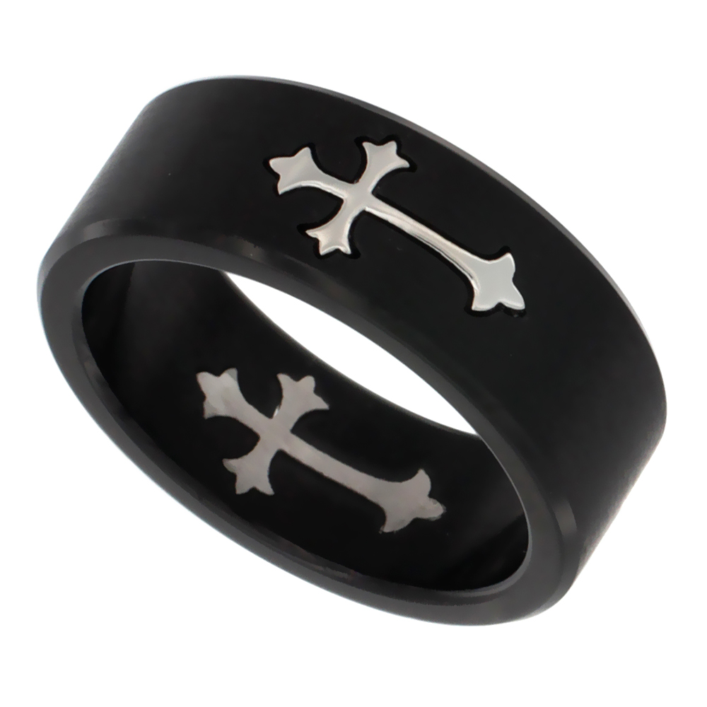 Surgical Stainless Steel Patonce Cross Wedding Band Ring 8mm 2-tone Black Matte Finish, sizes 7 - 13