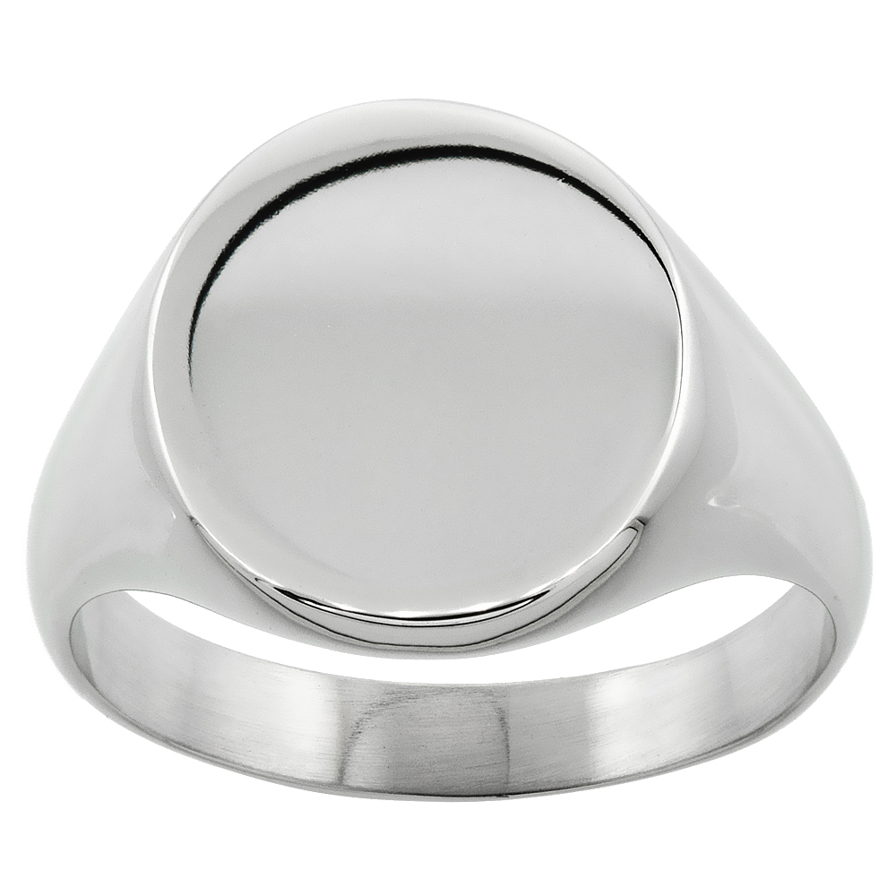 Surgical Stainless Steel Oval Signet Ring Solid Back Flawless Finish 5/8 inch, Sizes 8 to 13