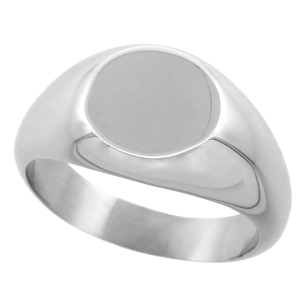Stainless Steel Small Signet Ring for Women Solid Back Flawless Finish 3/8 inch round, sizes 5 - 9