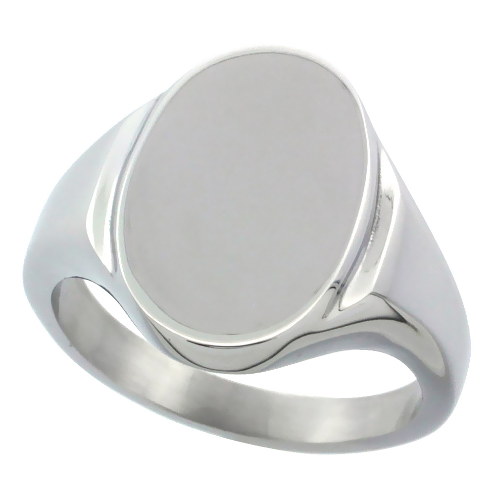 Surgical Stainless Steel Oval Signet Ring Solid Back Flawless Finish 5/8 inch, sizes 5 to 10