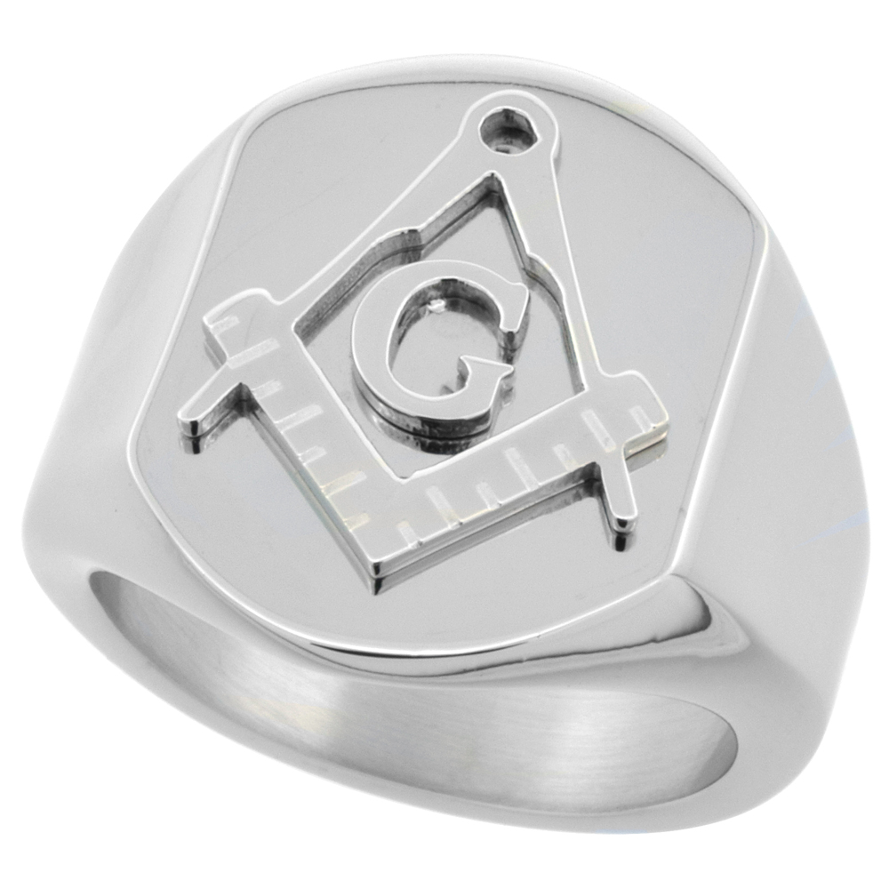 Surgical Stainless Steel Masonic Ring Square and Compass 3/4 inch, sizes 8 - 14
