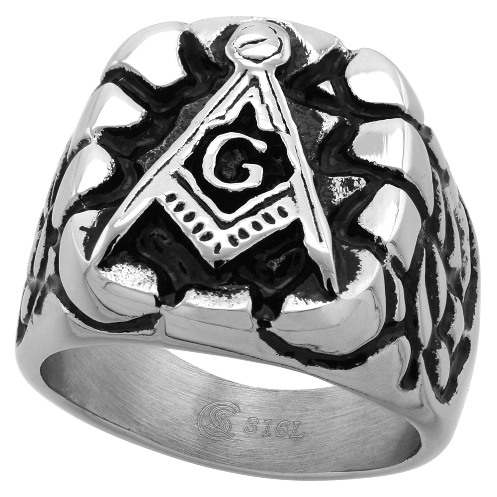 Stainless Steel Masonic Ring for Men Square and Compass Nugget Design 3/4 inch wide size 9 - 13