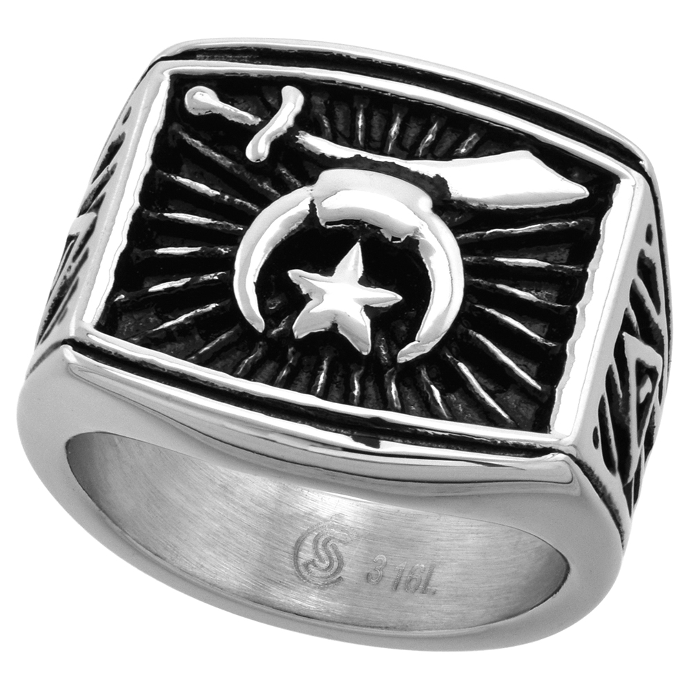 Stainless Steel Masonic Shriners Ring for Men Rectangular 3/4 inch wide size 9 - 13