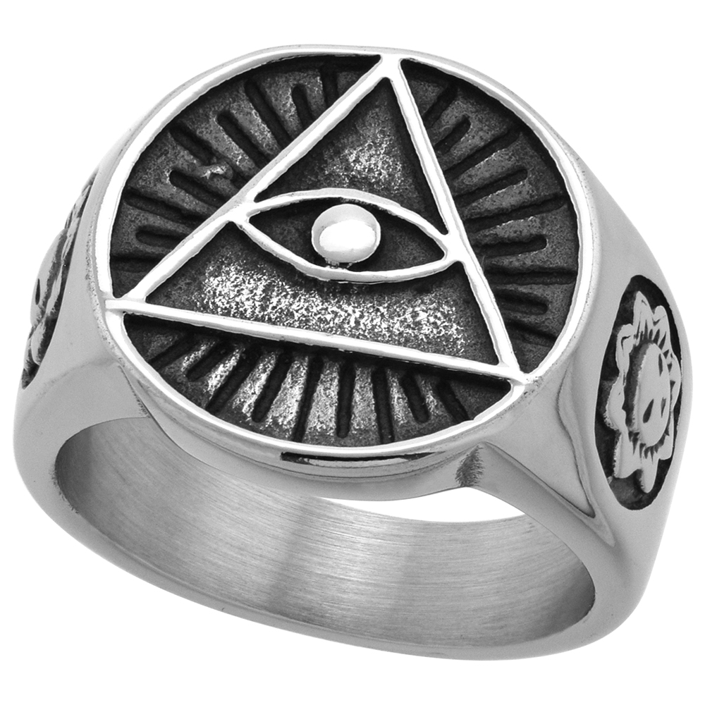 Stainless Steel Illuminati All Seeing Eye of Providence Ring for Men Round 11/16 inch wide size 9 -13