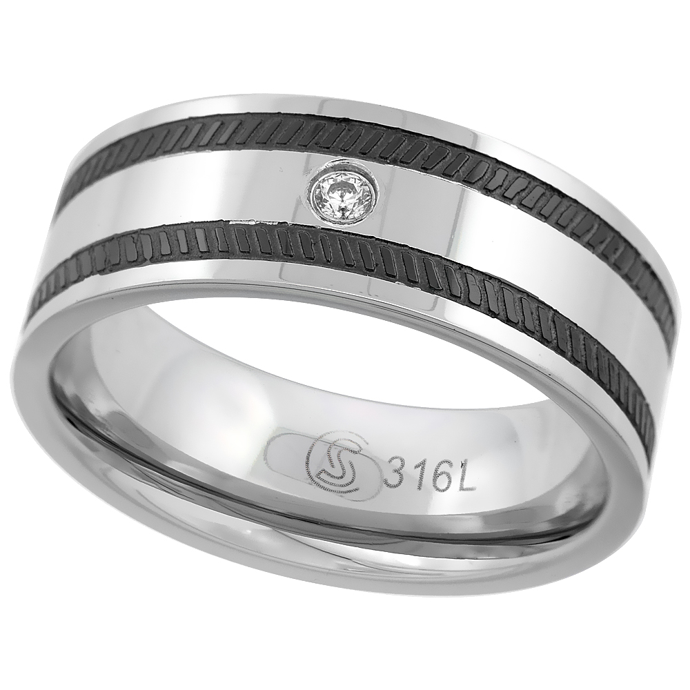 Surgical Stainless Steel 8mm CZ Wedding Band Ring Black Coin-edge Stripes Comfort fit, sizes 8 - 14