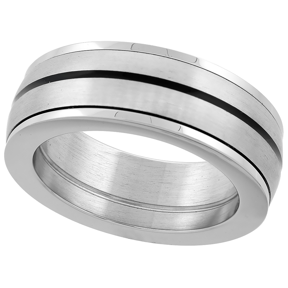 Stainless Steel 8mm Domed Spinner Ring Wedding Band Black Stripe Polished Edges Thick, sizes 8 - 14