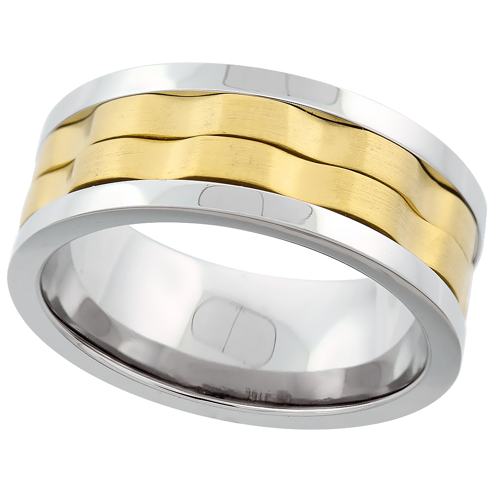Surgical Stainless Steel 8mm 2-Ring Spinner Wedding Band Two-tone Gold, sizes 8 - 14