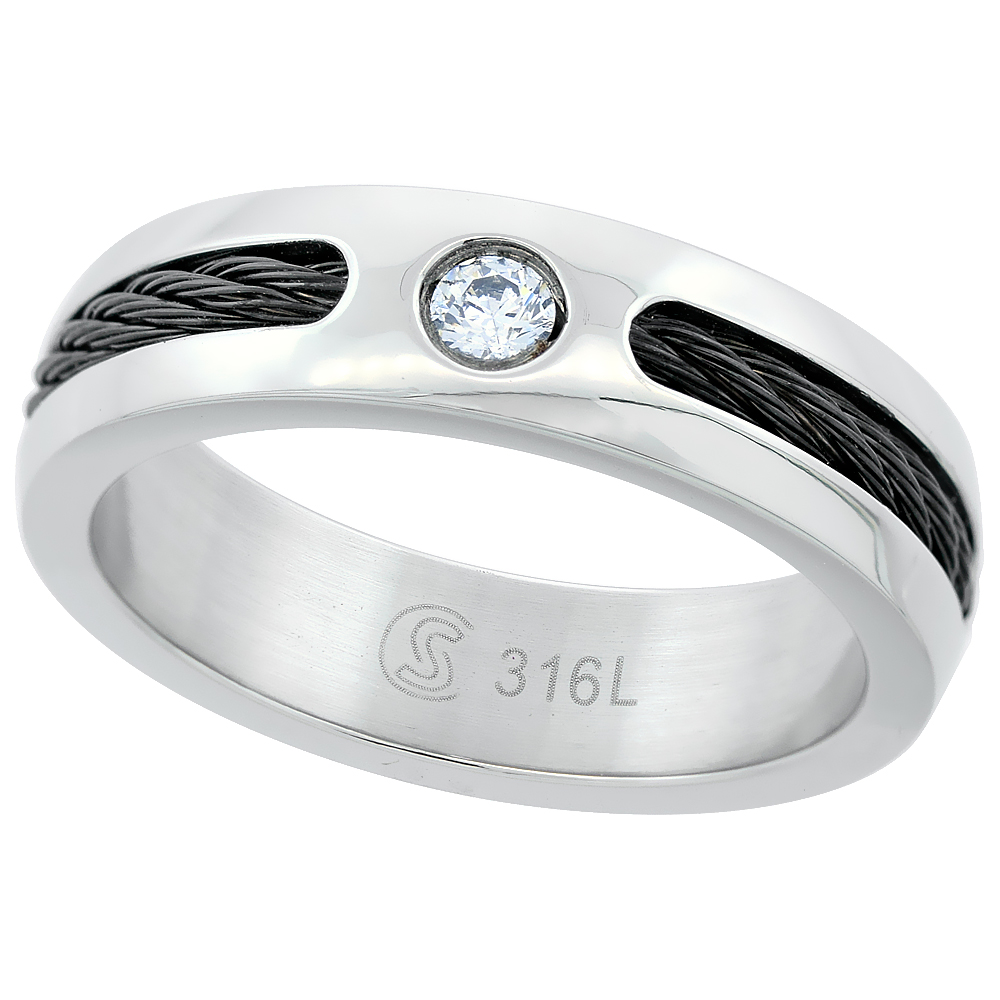 Surgical Stainless Steel 6mm CZ Wedding Band Ring Domed Black Cable Inlay Polished, sizes 8 - 14