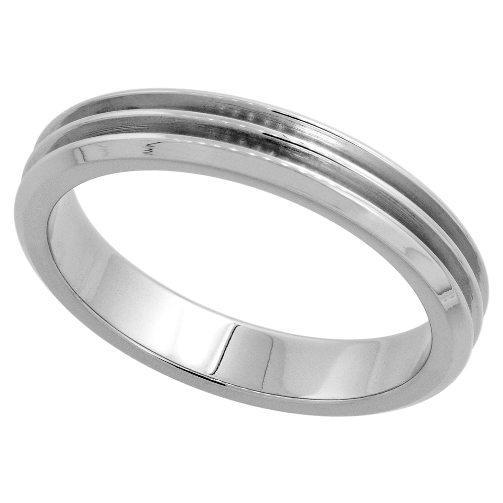 Surgical Stainless Steel 4mm Wedding Band Thumb Ring 2 Deep Grooves, sizes 8 - 14