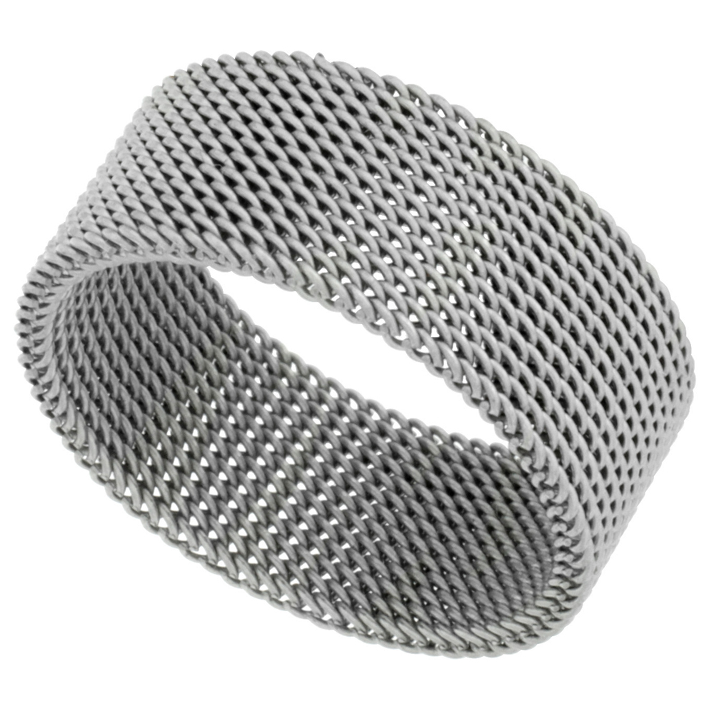 Surgical Stainless Steel 10 mm Mesh Ring Wedding Band, sizes 5 - 14