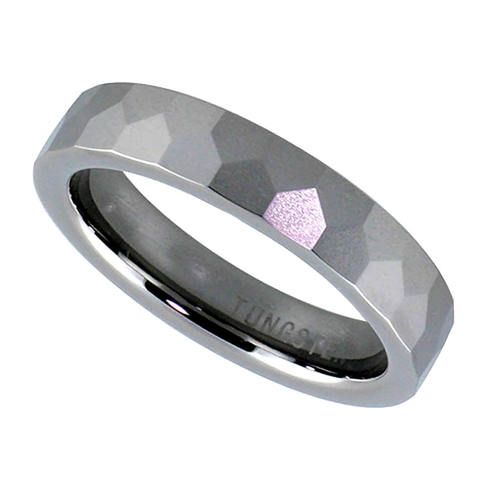 Tungsten Carbide 5 mm Faceted Dome Wedding Band Ring Pentagon Patterns, sizes 7 to 14