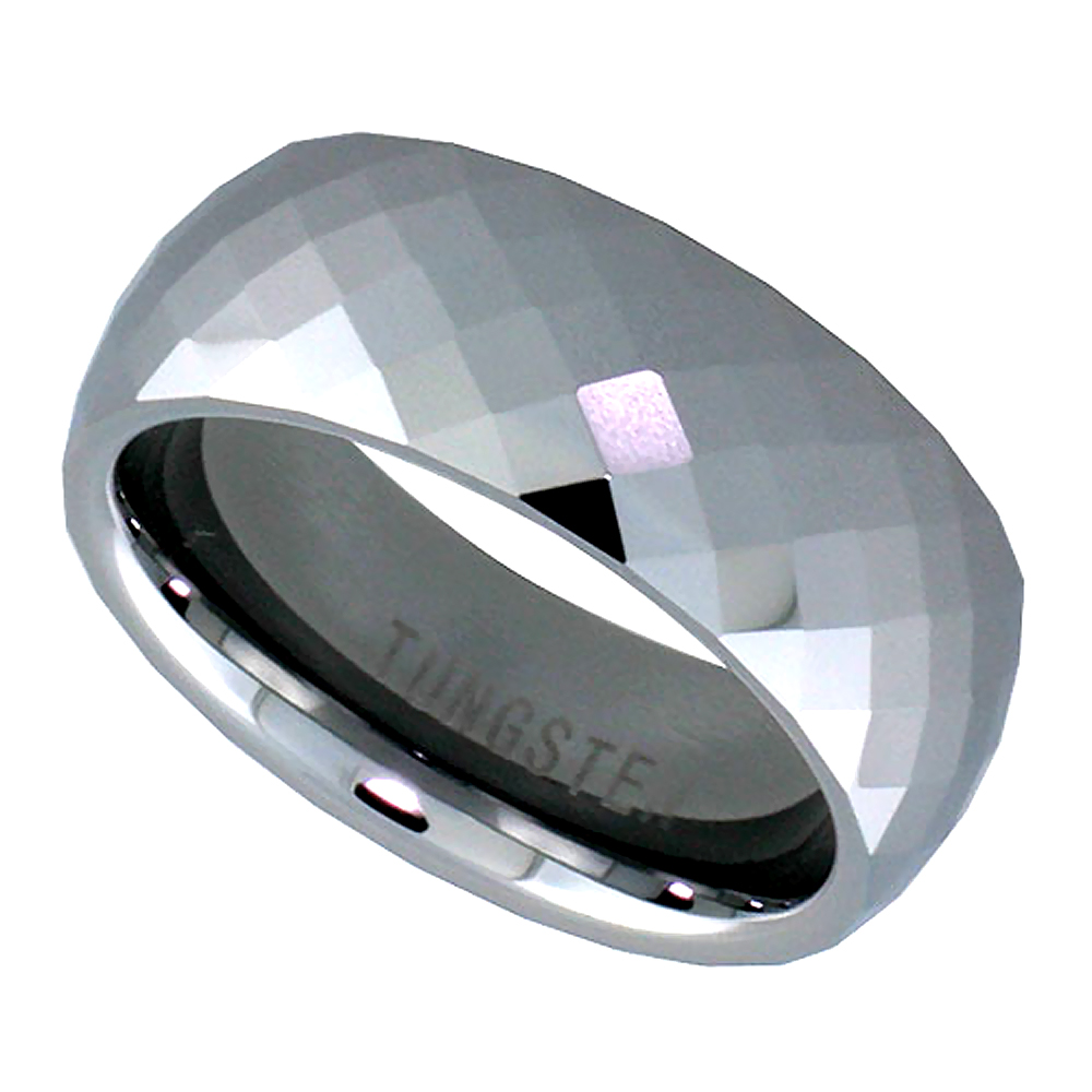 Tungsten Carbide 8 mm Faceted Dome Wedding Band Ring Fine Diamond Pattern, sizes 5 to 14
