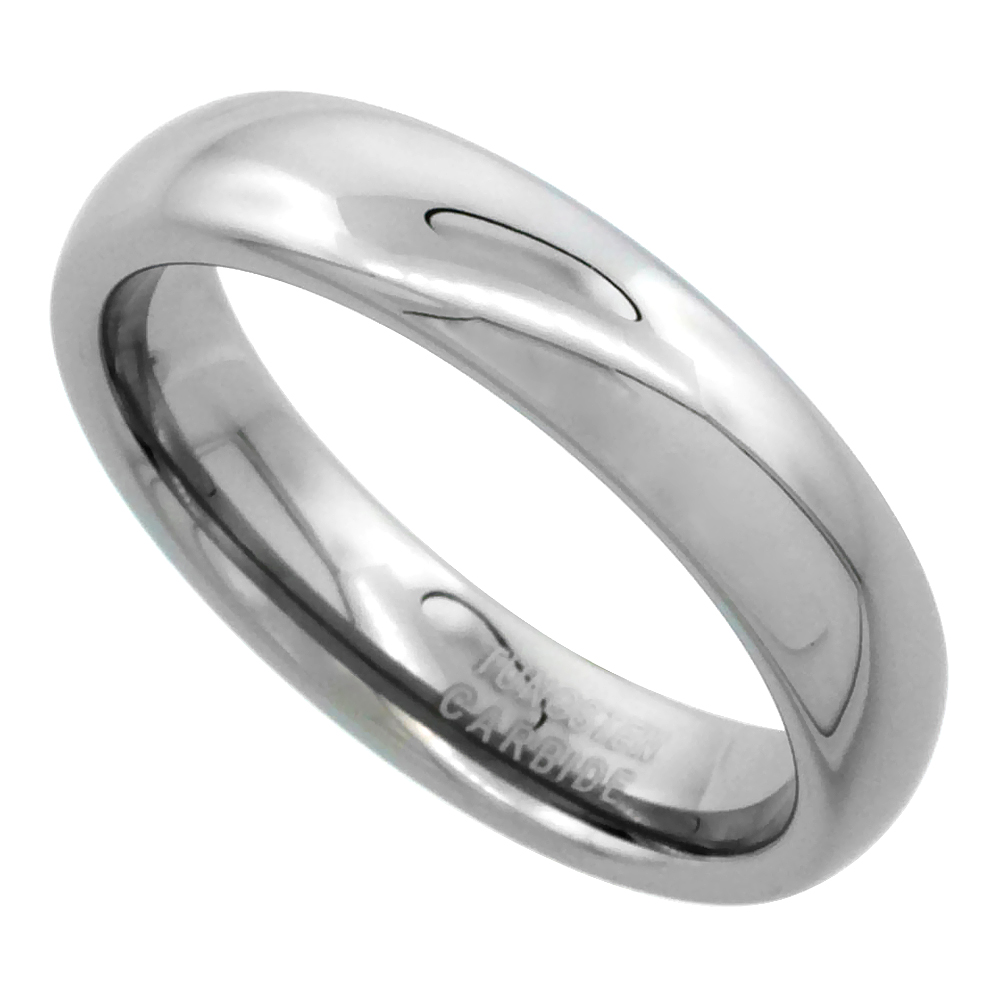 Tungsten Carbide 5mm Plain Domed Wedding Band Ring for Men and Women Polished, sizes 5 to 15