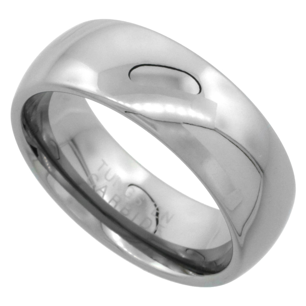 Tungsten Carbide Plain Domed Wedding Band Thumb Ring for Men and Women Polished Comfort Fit