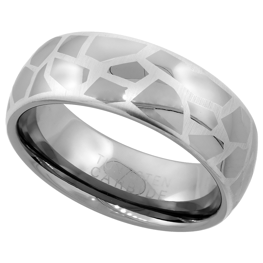 Tungsten Carbide 8 mm Domed Wedding Band Ring Etched Abstract Pattern, sizes 7 to 14
