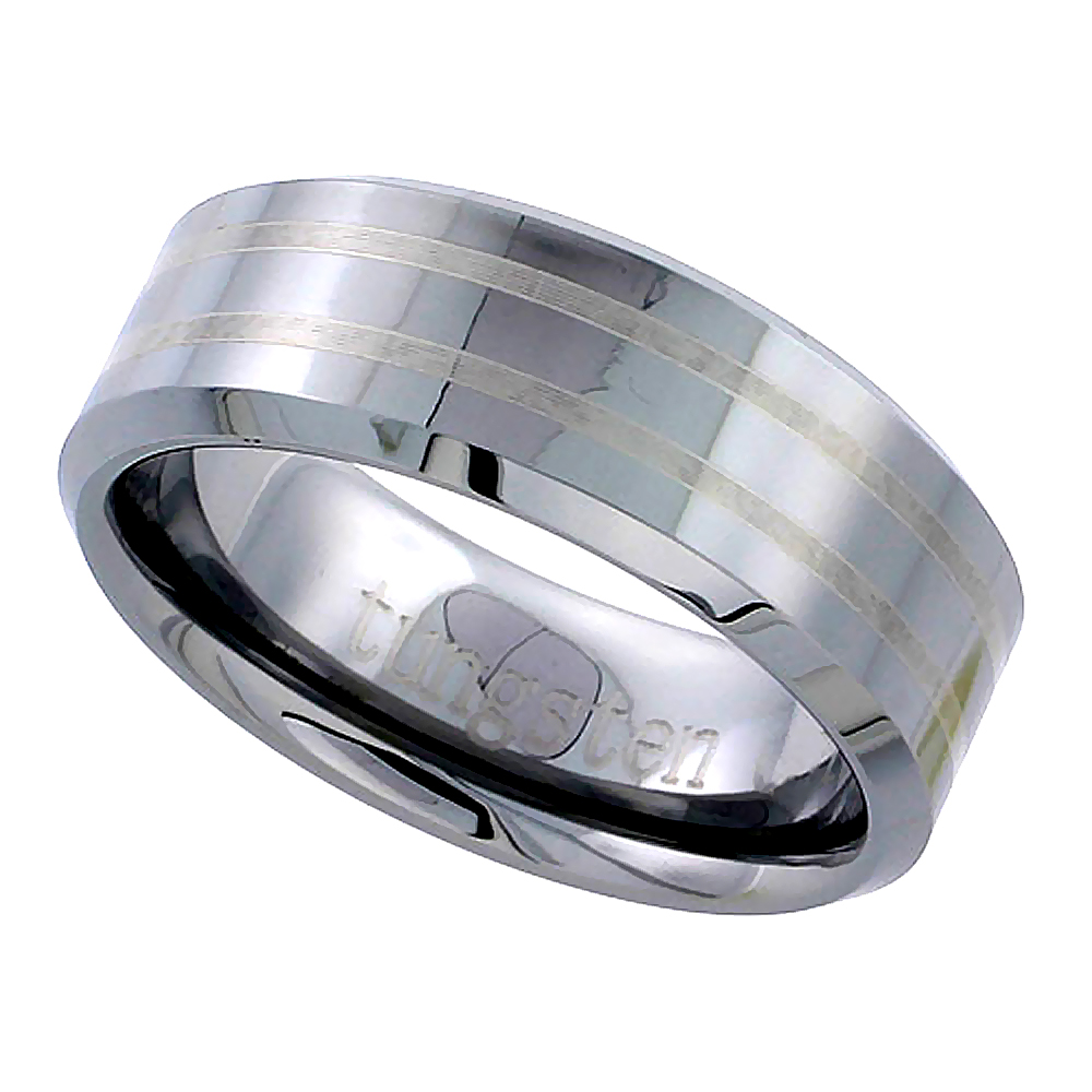 8mm Tungsten 900 Wedding Ring 2 Etched Stripes Beveled Edges Comfort fit, sizes 5 to 14