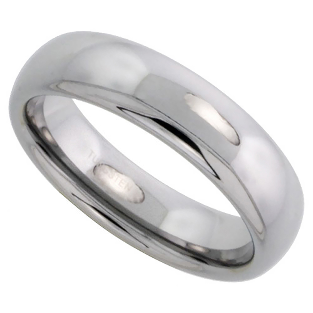 Tungsten Carbide 6 mm Plain Domed Wedding Band Thumb Ring for Men and Women Polished, sizes 5 to 12