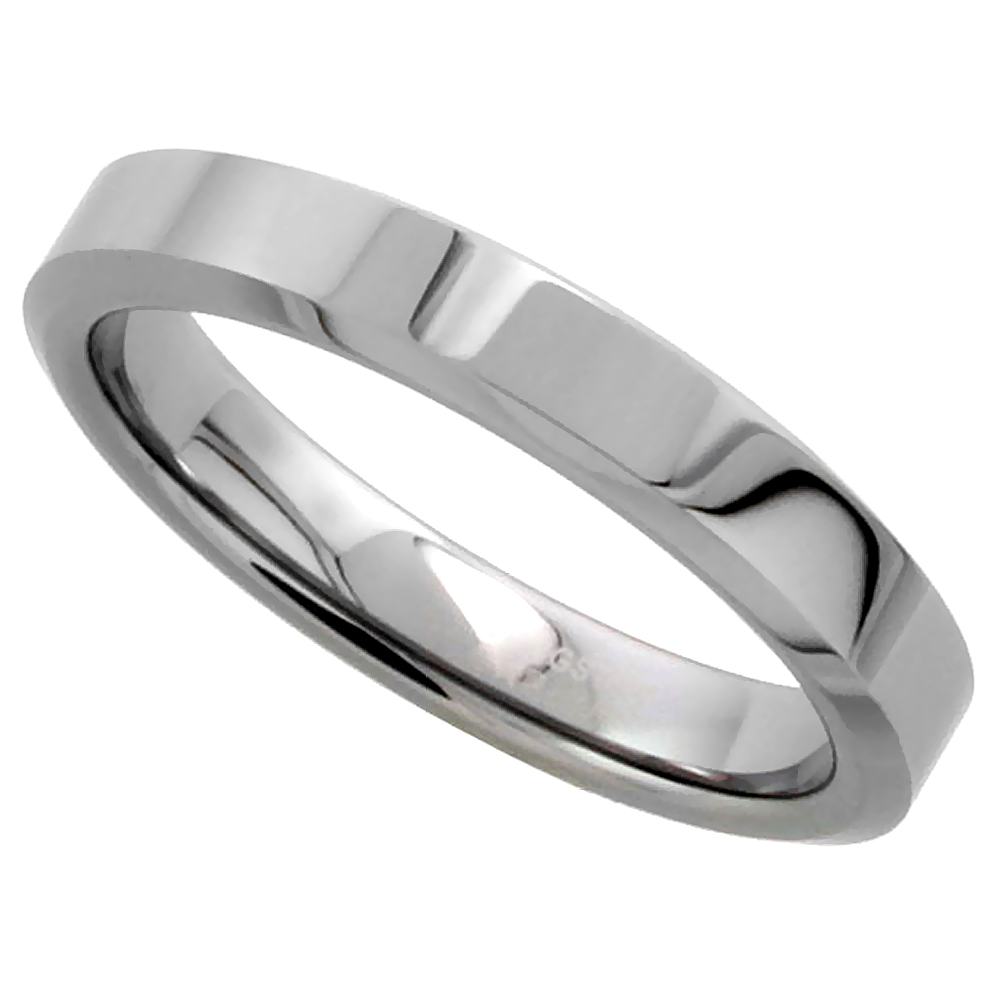 Tungsten Carbide 4 mm Flat Wedding Band Thumb Ring His & Hers Mirror Polished Finish Beveled Edges, sizes 5 to 12