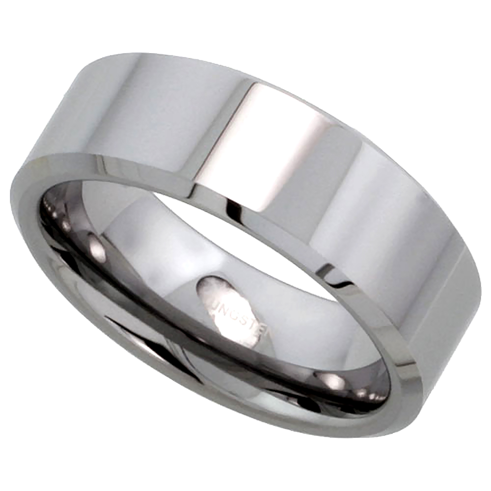 8mm Tungsten 900 Wedding Ring for Him & Her High Polish Beveled Edges Comfort fit, sizes 5 to 15