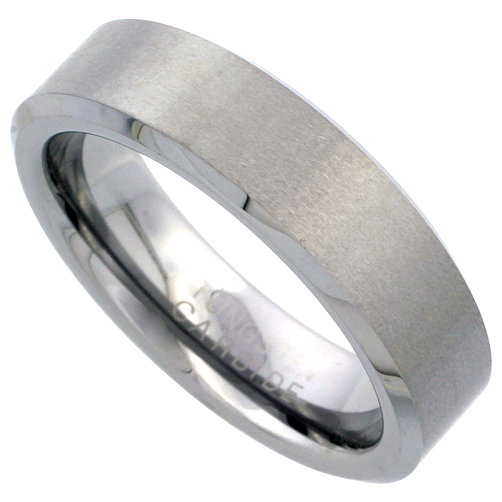 Tungsten Carbide 6 mm Flat Wedding Band Ring Satin Finished Beveled Edges, sizes 7 to 12