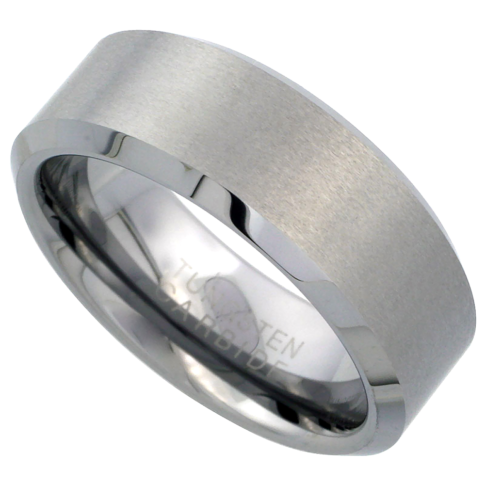 Tungsten Carbide 8 mm Flat Wedding Band Ring Satin Finished Beveled Edges, sizes 9 to 14