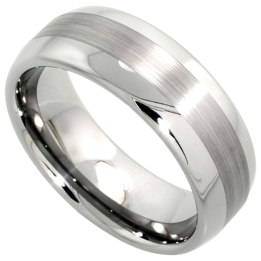 8mm Tungsten 900 Wedding Ring Domed Wide Center Stripe Etching Comfort fit, sizes 7 - 14