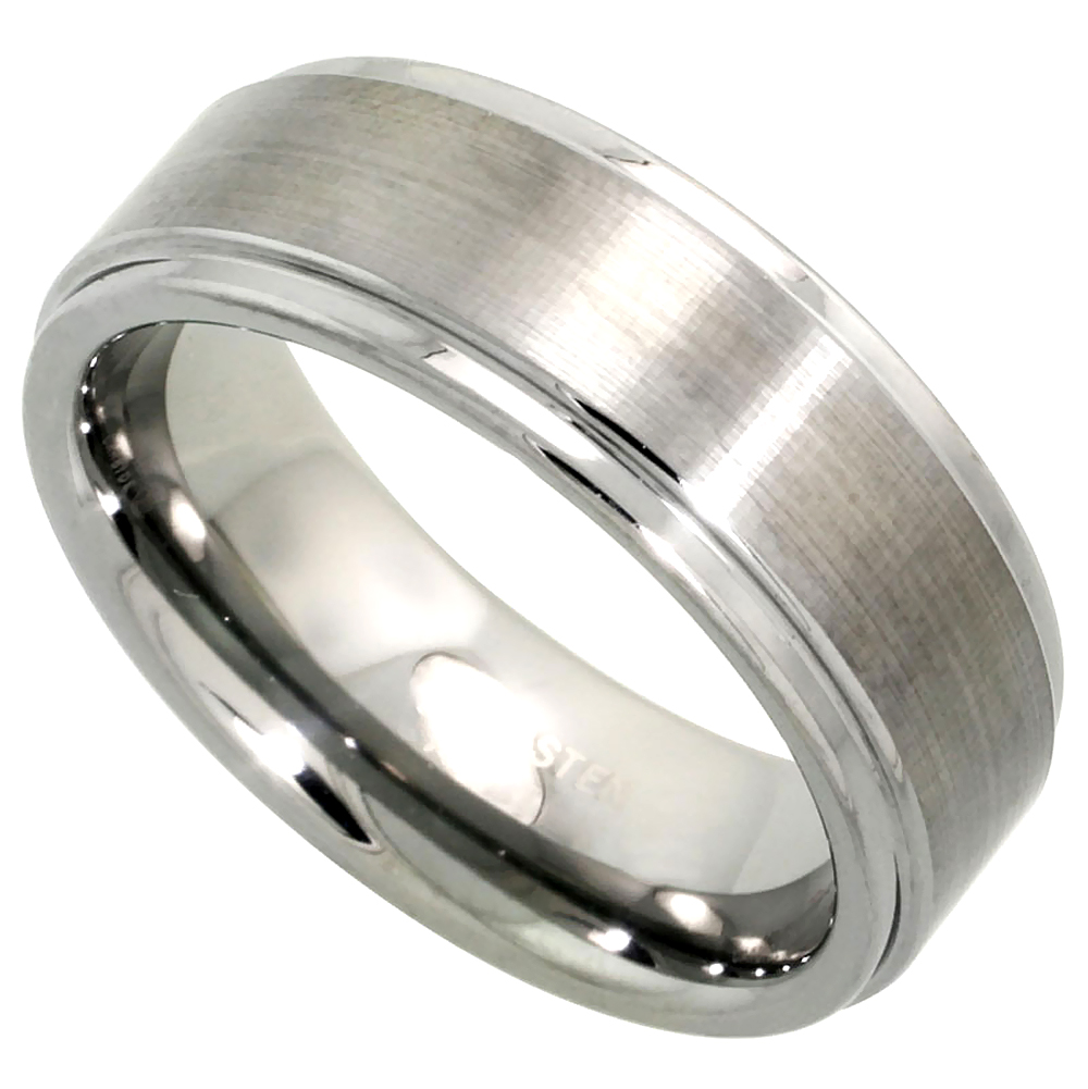 Tungsten Carbide 8 mm Flat Wedding Band Ring Satin Finished Center Recessed Edges, sizes 7 to 14