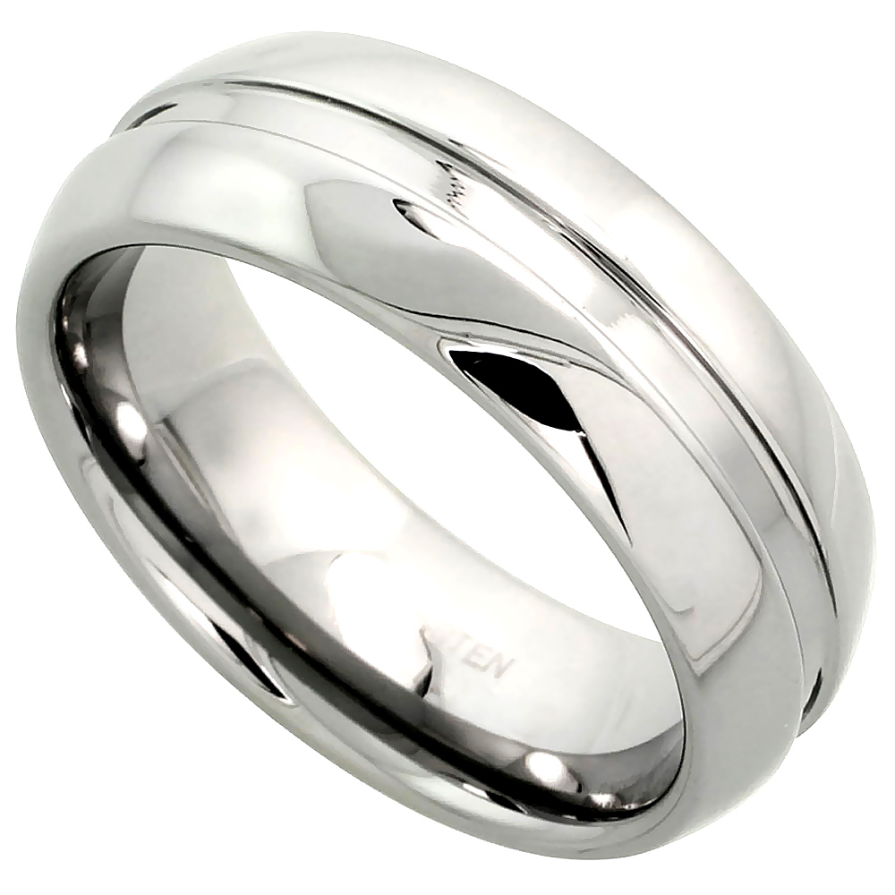Tungsten Carbide 8 mm Dome Wedding Band Ring Grooved Center Mirror Polished Finish, sizes 7 to 14