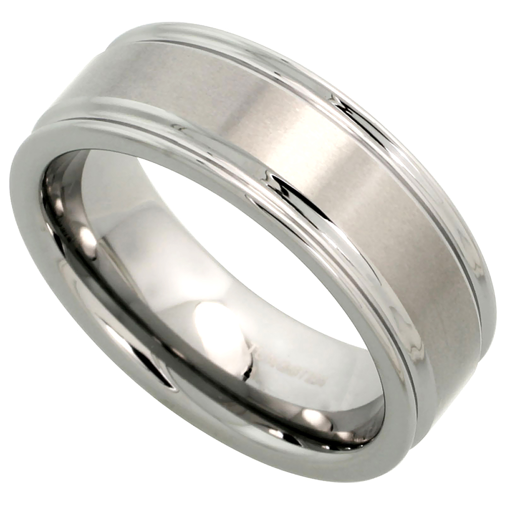 Tungsten Carbide 8 mm Flat Wedding Band Ring Deep Grooved Edges Satin Finished, sizes 7 to 14