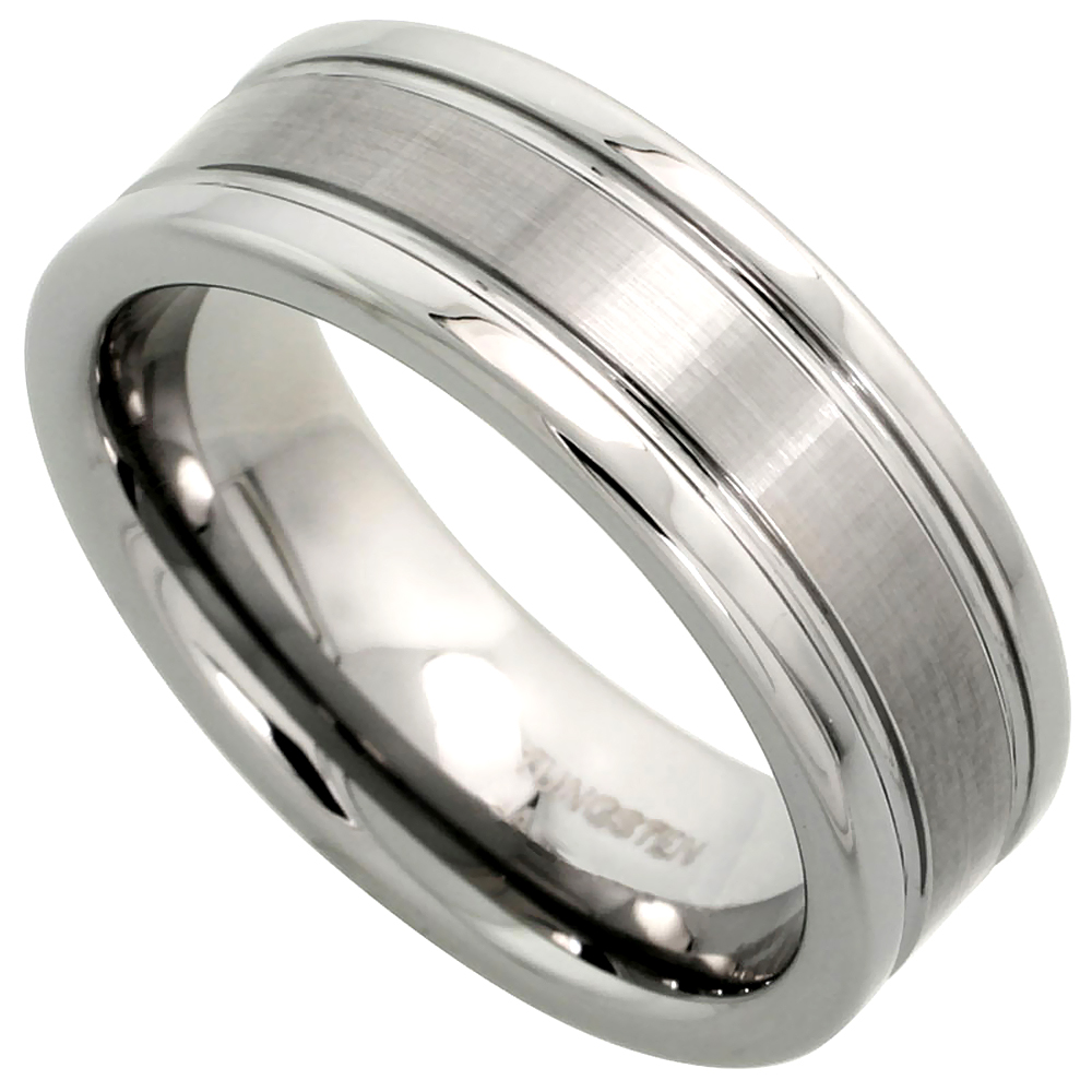 8mm Tungsten 900 Wedding Ring Satined Center Grooved Edges Comfort fit, sizes 7 - 14