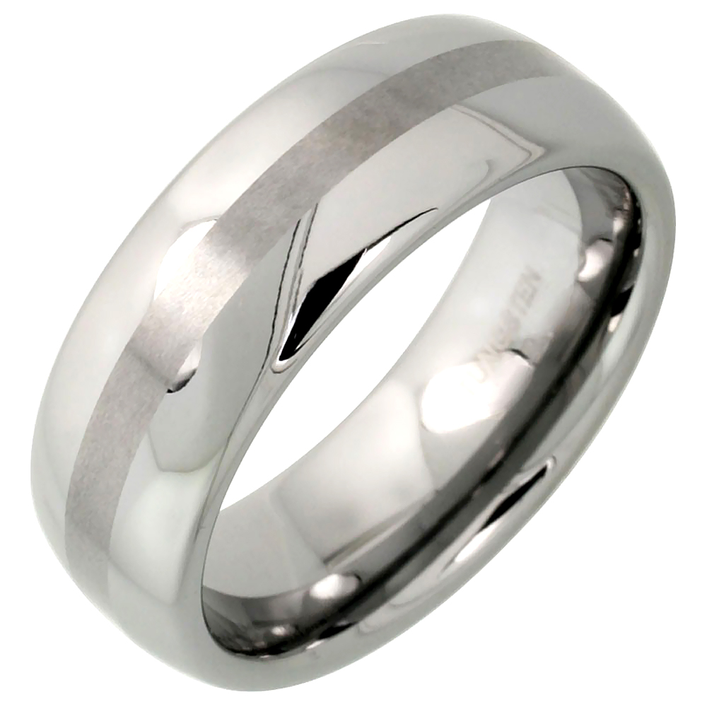 Tungsten Carbide 8 mm Domed Wedding Band Ring Narrow Center Stripe Etching, sizes 7 to 14