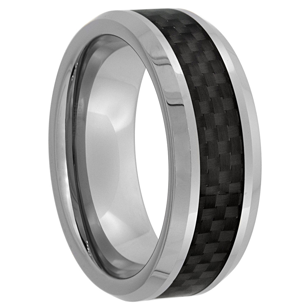 8mm Tungsten 900 Wedding Ring Black Carbon Fiber Inlay Beveled Edges Comfort fit, sizes 7 - 14