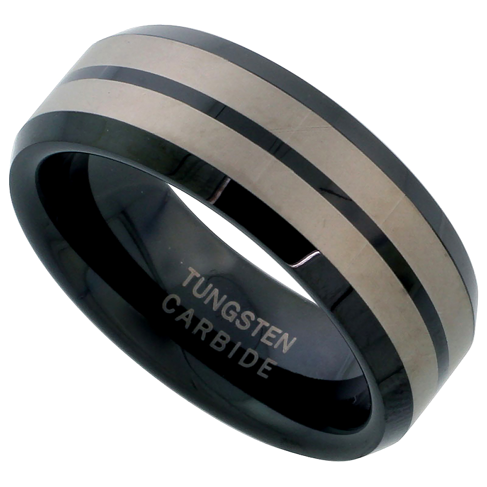 Tungsten Carbide 8 mm Flat Wedding Band Ring Blackened Finish Etched Double Stripes Beveled Edges, sizes 7 to 14
