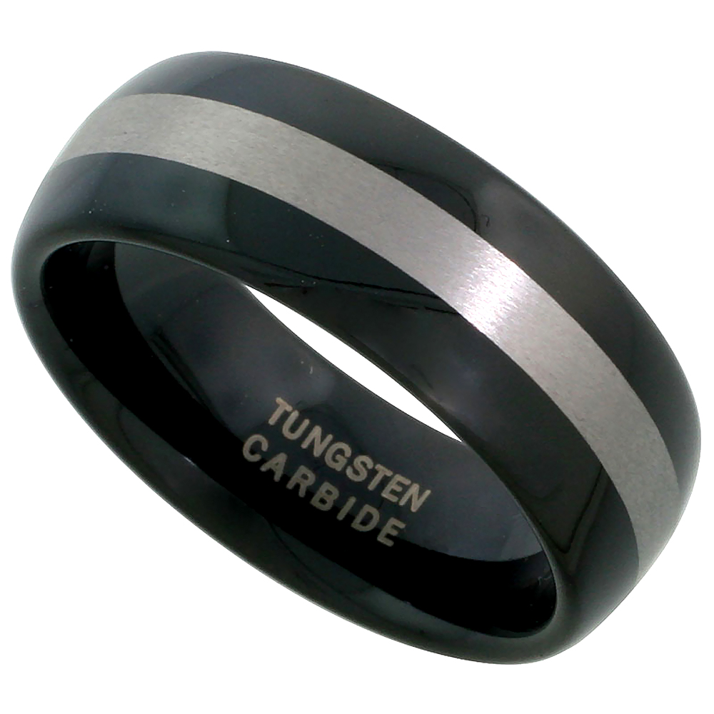 Tungsten Carbide 8 mm Domed Wedding Band Ring Blackened Finish Wide Etched Stripe Center, sizes 7 to 14