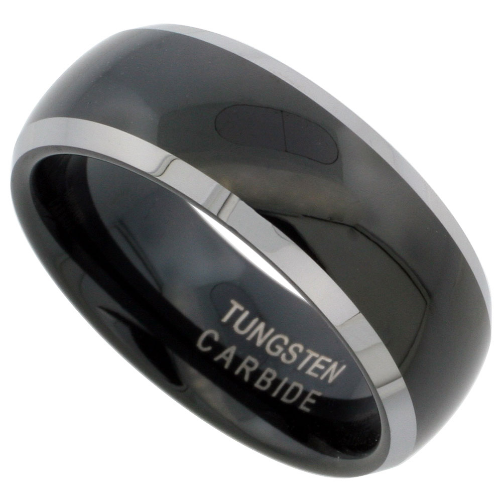 Tungsten Carbide 8 mm Domed Wedding Band Ring Two-tone Black Finish Beveled Edges, sizes 7 to 14