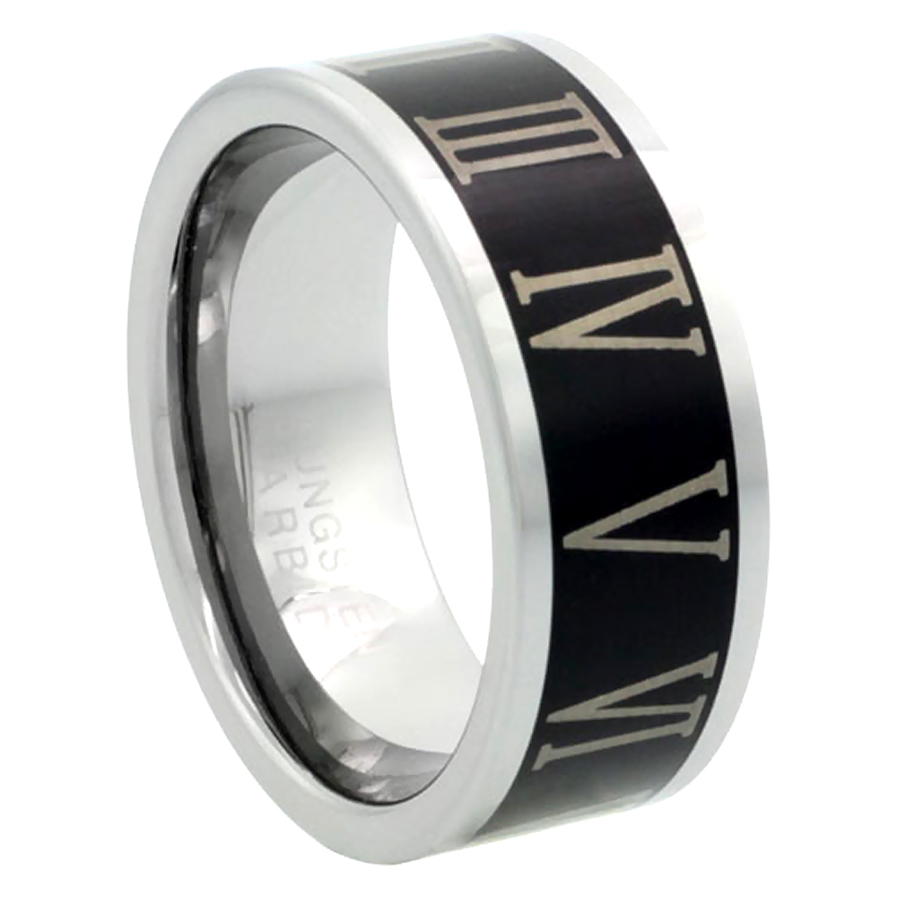 Tungsten Carbide 8 mm Flat Wedding Band Ring Roman Numerals 1-12 Blackened Finish, sizes 9 to 13.5