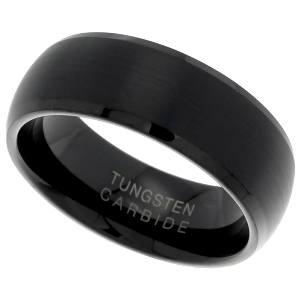 Black Tungsten Carbide 8mm Domed Wedding Band Ring Brushed with Beveled Edges, sizes 9 - 12