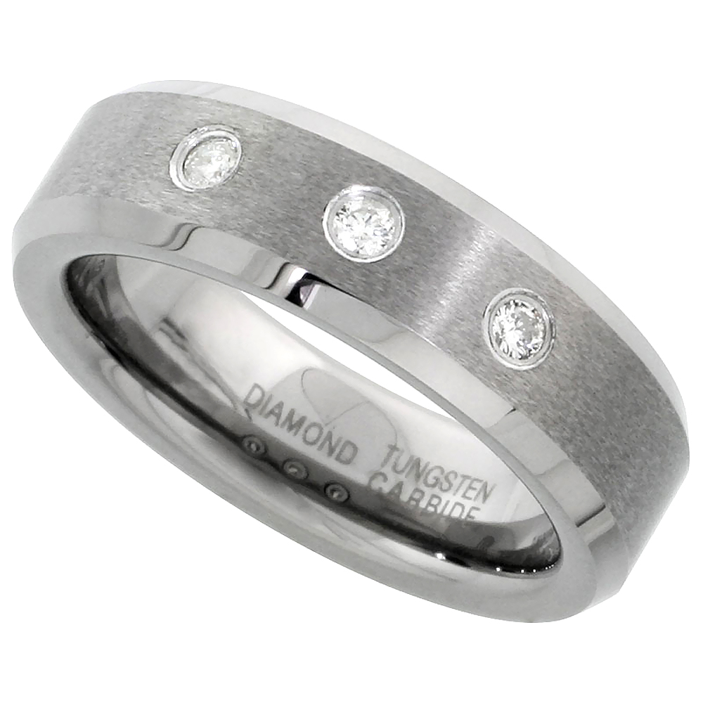 6mm Tungsten Diamond Wedding Ring for Him & Her 3 Stone Matte Beveled Comfort fit, sizes 4-9.5