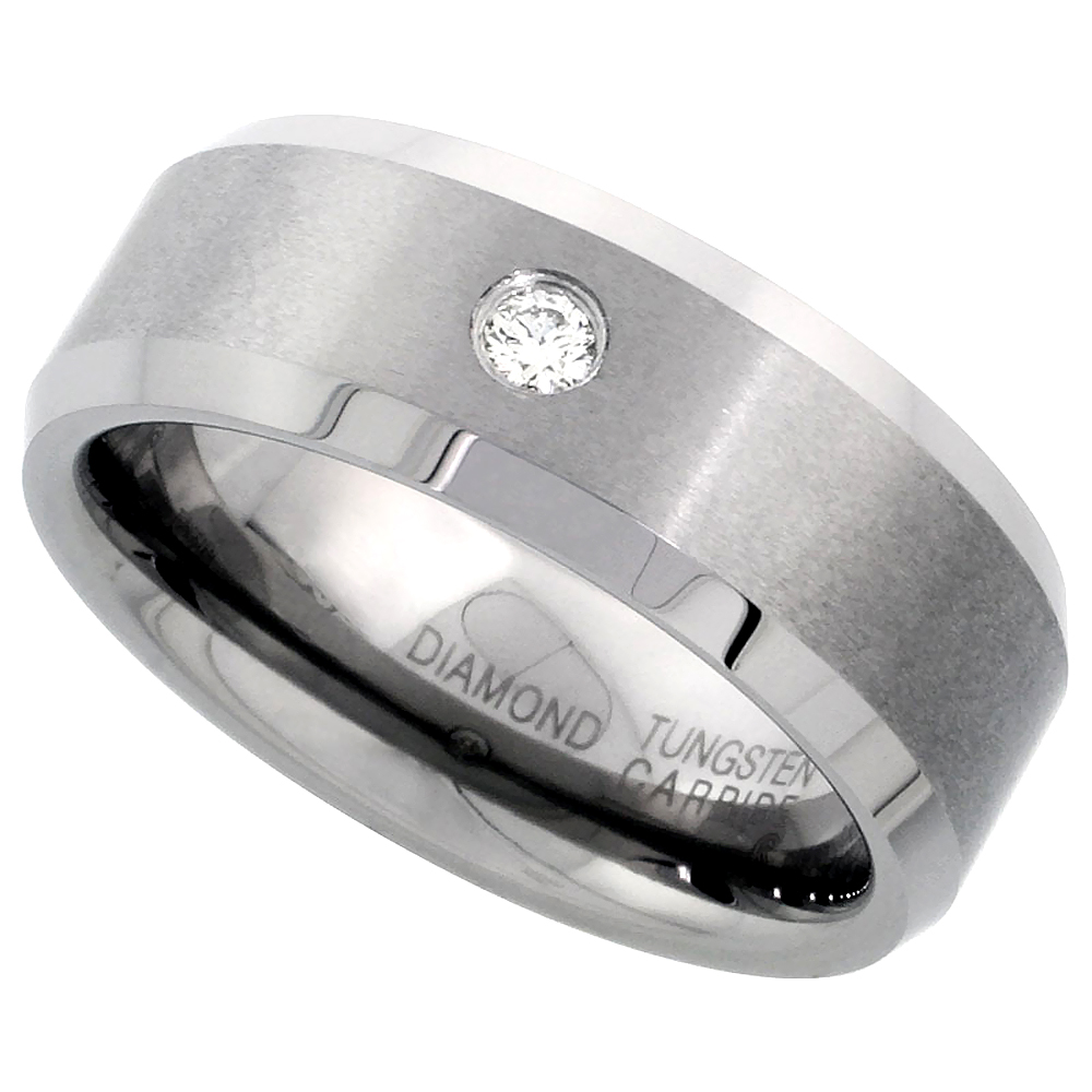 8mm Tungsten 900 Diamond Wedding Ring 0.072 cttw Beveled Edges Comfort fit, sizes 8 to 13
