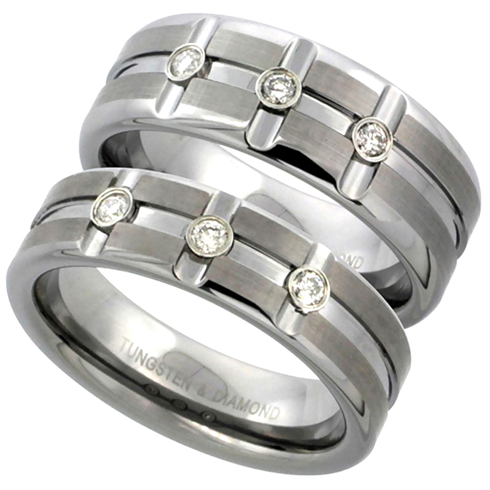 2-Ring Set 6 & 8mm Tungsten 3 Stone Diamond Wedding Ring Horizontal & Vertical Grooves Satined Comfort fitsizes 5-13