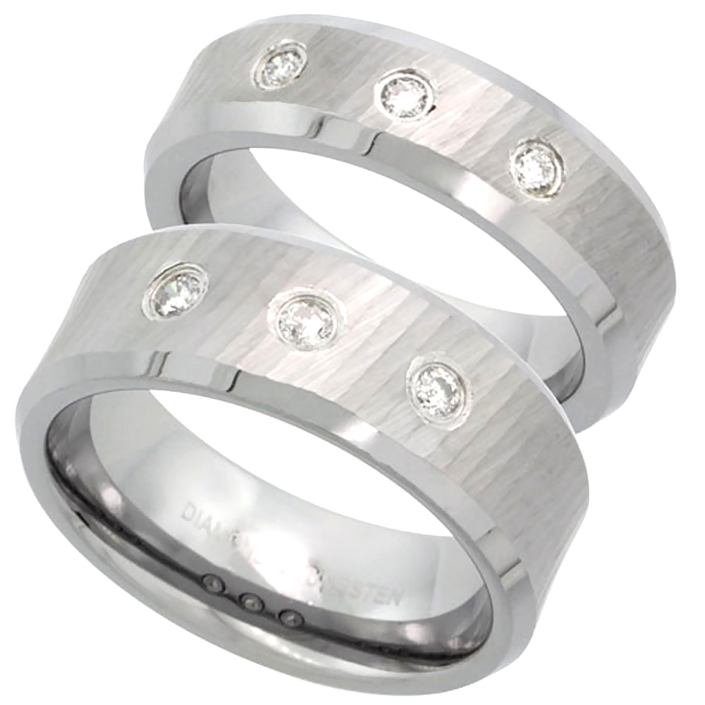 2-Ring Set 6 & 8mm Tungsten 3 Stone Diamond Wedding Ring Diamond Cut Beveled Comfort fitsizes 5-13