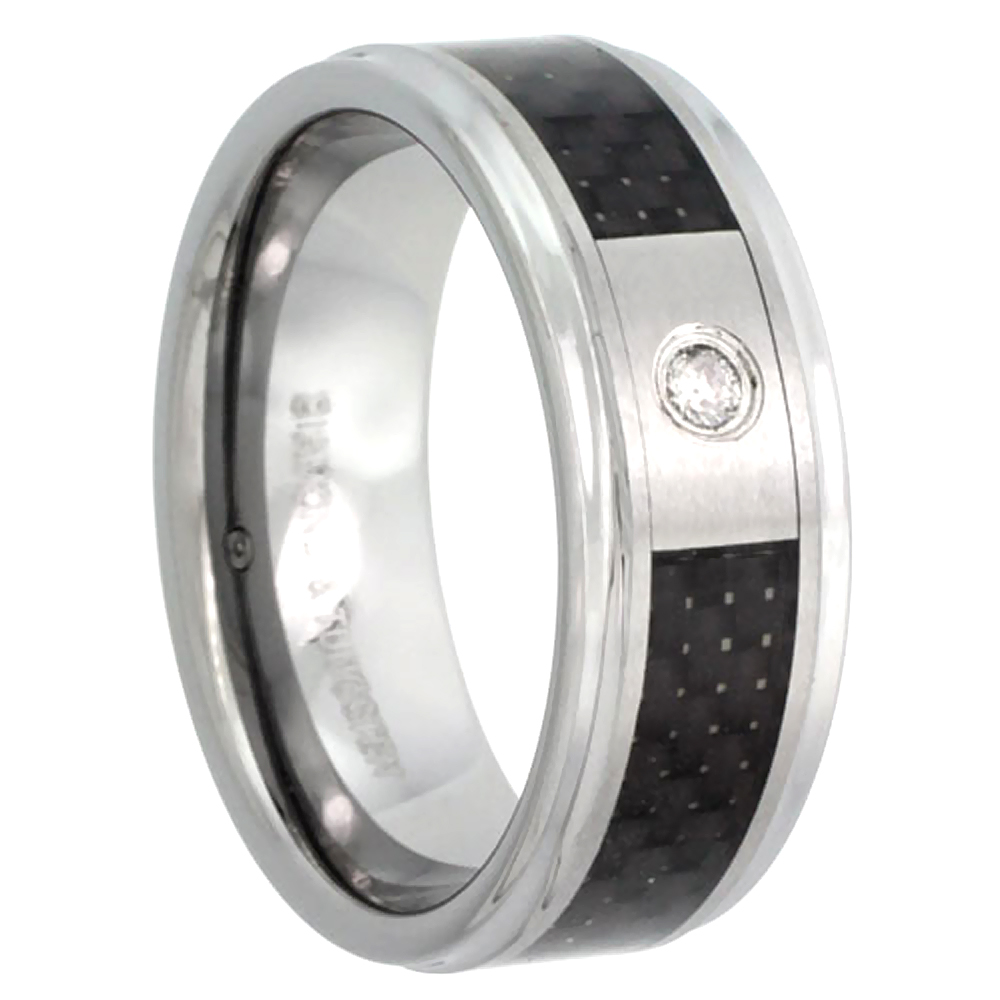 8mm Tungsten Diamond Wedding Ring Black Carbon Fiber Inlay Beveled Edges Comfort fit, sizes 8 to 13