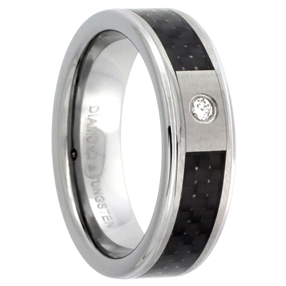 6mm Tungsten Diamond Wedding Ring for Him & Her Black Carbon Fiber Inlay Beveled Comfort fit, sizes 4 to 9.5