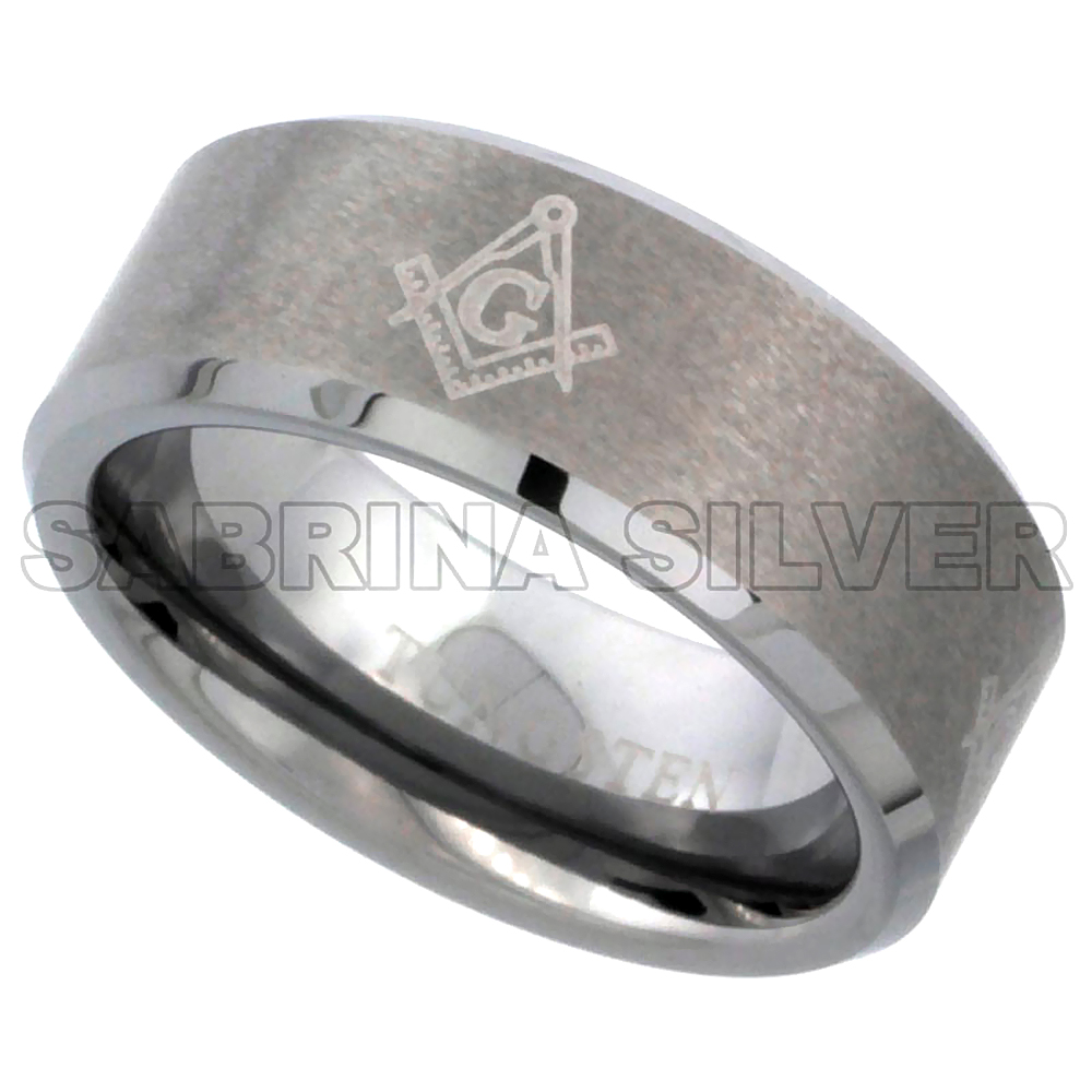 8mm Tungsten 900 Wedding Ring Etched Masonic Symbol Pattern Beveled Edges Brushed Finished Comfort fit, sizes 7 - 14