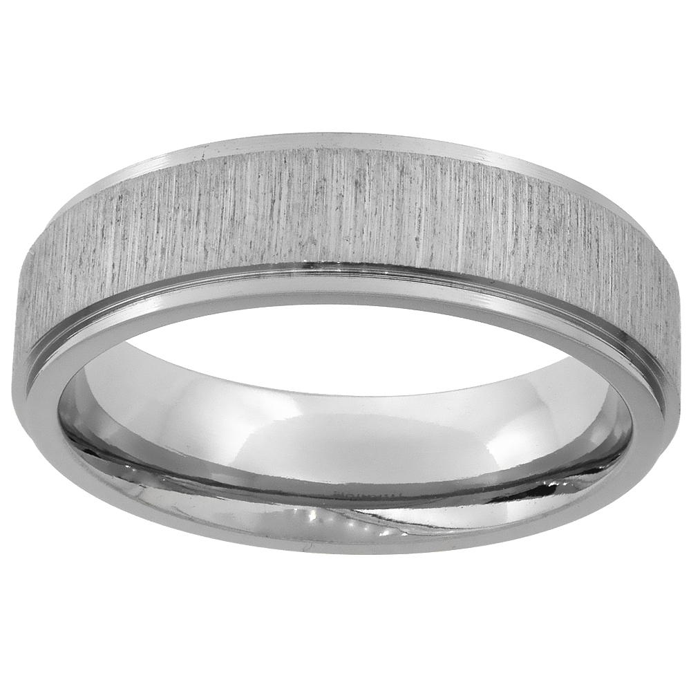 Titanium 6mm Wedding Band Ring Brushed center Recessed Edges Flat Comfort Fit, sizes 7 - 14