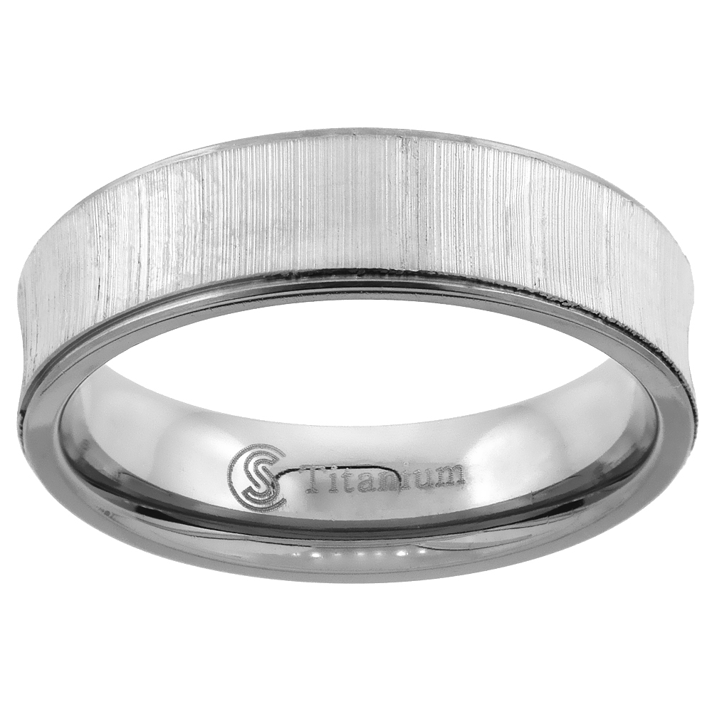 Titanium Wedding Ring 6 mm Concaved Brushed Recessed Edges Comfort Fit, sizes 7 - 14